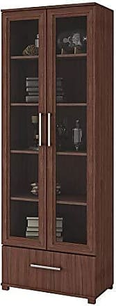 Manhattan Comfort 75AMC164 Serra Modern Storage Bookcase with Glass Door, Nut Brown