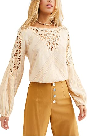 Free People Free People Floating Memories Top Blouse Beige Medium
