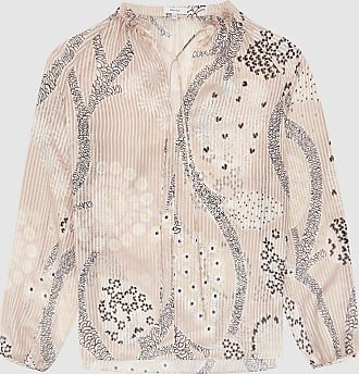 Reiss Hailey - Printed Open Neck Blouse in Nude, Womens, Size 10