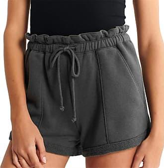 QIYUN.Z 2020 Summer Loose Shorts Drawstring Shorts Comfy Solid Casual Shorts Black XL