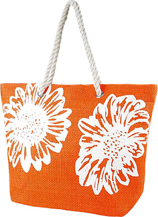 Universal Textiles Womens/Ladies Floral Print Woven Summer Handbag (One Size) (Orange)