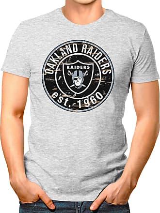 OM3 Oakland-Badge - T-Shirt | Mens | American Football Shirt | 3XL, Heather Grey