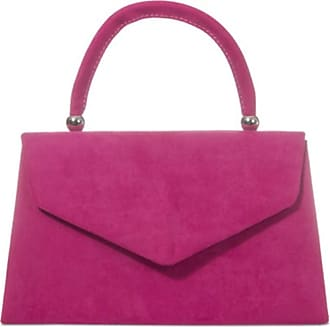 LeahWard Womens Clutch Bag Top Handle Wedding Suede Handbags 304 (Fuchsia)