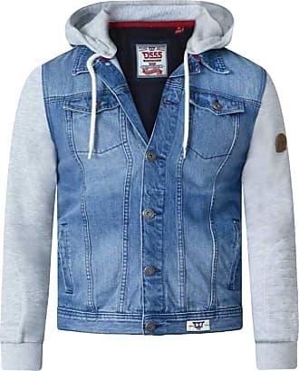 Duke London Duke D555 Mens Big Size Lester Vintage Blue Long Sleeve Fleece Hooded Denim Jacket