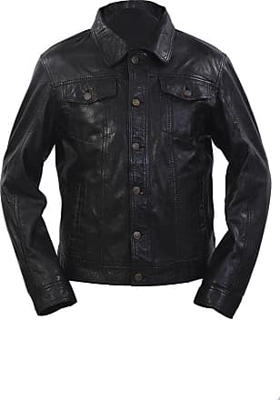Infinity Mens Retro Trucker Style Slim Fit Casual Black Leather Shirt Jeans Jacket (3XL)
