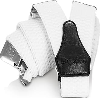 Decalen Mens Braces with Very Strong Clips Heavy Duty Suspenders One Size Fits All Wide Adjustable and Elastic Y Style (White)