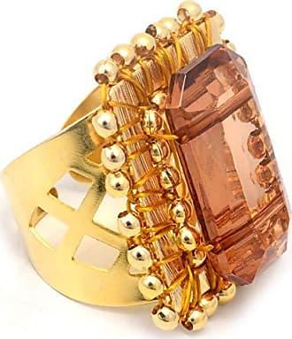 Tinna Jewelry Anel Dourado Quadriculado Com Resina (Marrom)