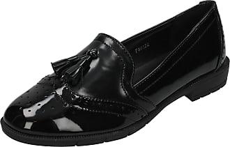 Spot On Ladies Loafer Style Shoes - Black Patent - UK Size 4 - EU Size 37 - US Size 6