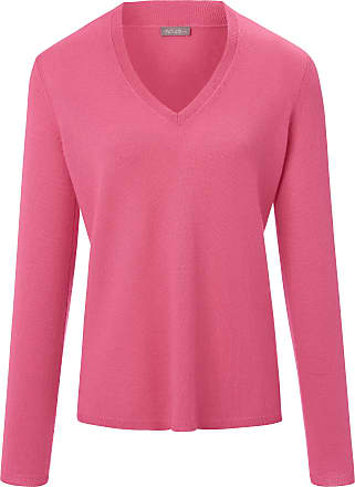 include V-neck jumper long sleeves include bright pink