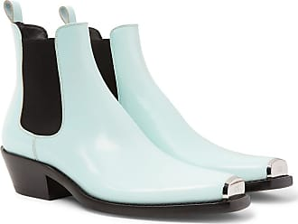 CALVIN KLEIN 205W39NYC Chris Metal Toe-cap Spazzolato Leather Boots - Blue