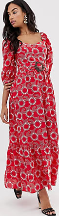 Asos premium sweetheart broderie maxi dress with buckle belt-Red
