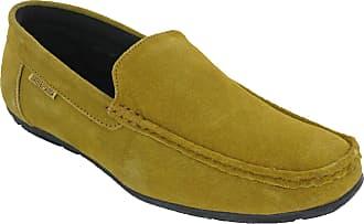 Lambretta Moccasin Driving Shoes Mens Suede Leather Flat Trainers UK 7-12 (UK 9 / EU 43, Light Tan)