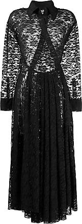 Norma Kamali Vestido godê com renda - Preto