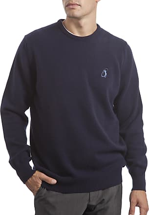 Glenmuir Scotland Mens Touch of Cashmere Plain Crew Neck Classic Fit Golf Jumper. Made in Scotland-Navy-Small