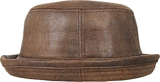 Ililily Vintage Faux Leather Rolled Short Brim Fedora Flat Pork Pie Hat, Light Brown, Medium