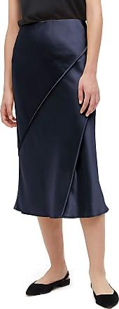 LilySilk Ladies Chic Elegant Silk Midi Skirt Breathable Comfy 100% Silk Skirt Navy Blue M