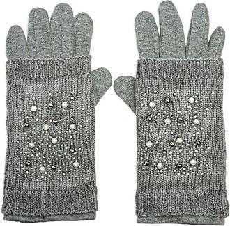 b444119325c9f8 CASPAR Fashion CASPAR GLV006 warm gefütterte Damen Feinstrick Touchscreen  Handschuhe mit abnehmbarem Pulswärmer und Perlen Strass
