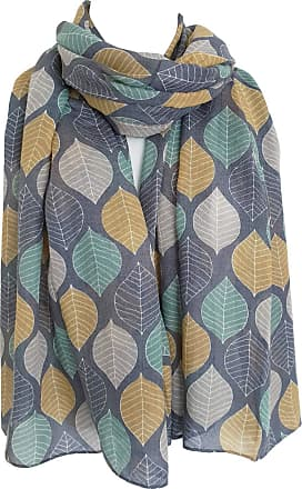 GlamLondon Womens Beautiful Designed Large Leaves Print Scarf (Blue)