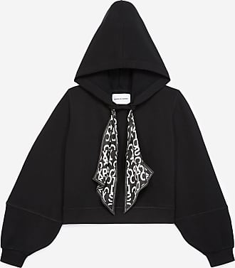 The Kooples Black hoodie with drawstring and logo - WOMEN