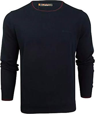 Ben Sherman Mens Crew Neck Knit Jumper 0048585 (XXXL, Navy/Wine)