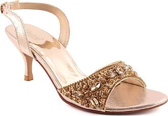 e4f2c226270 Unze Unze Women AMBEL Kitten Heel Sandals Studs Ankle Strap Open Toe Slip  On Shimmer Buckle