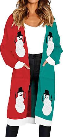 FNKDOR 2018 Fashion Women Tops Jumper Ladies Xmas Long Sleeve Elk Print Knitted Cardigan Sweater Coat Blouse (Green,UK-24/CN-XL)