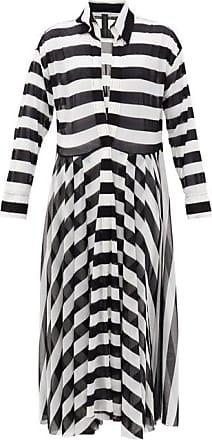 Norma Kamali Asymmetrical-striped Shirtdress - Womens - Black Stripe