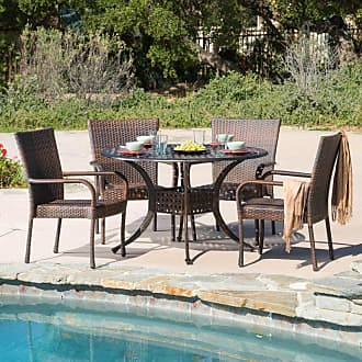 BEST SELLING HOME Outdoor Amber Wicker 5 Piece Round Patio Dining Set - 294946