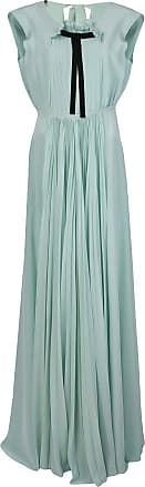 Rochas pleated front gown with pussy bow - Green