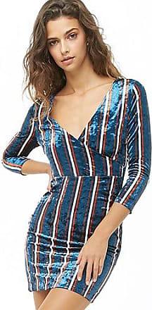 Forever 21 Forever 21 Striped Crushed Velvet Dress Teal/cream