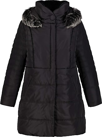 Ulla Popken Womens Plus Size Faux Fur Trim Quilted Parka Black 32/34 718677 10-58+