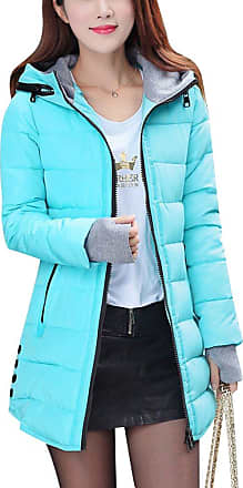 ZongSen Womens Long Down Coat Hooded Ultralight Packable Jacket Warm Coats Outwear Wat Blue XL