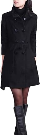 H&E Womens Casual Wool Blend Double Breasted Lapel Pea Coat Trench Coat Black XXS