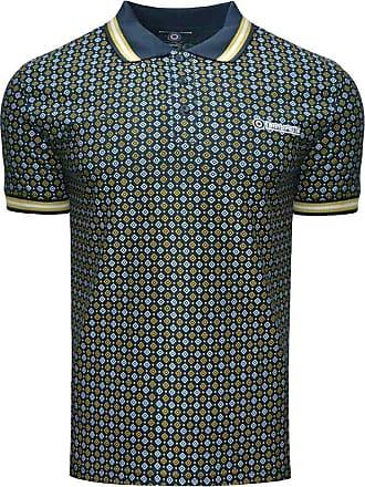 Lambretta Mens Geometric AOP Cotton Polo Shirt - Navy - 3XL