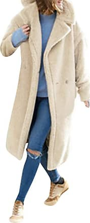 Kobay Womens Coats, Ladies Winter Solid Lapel Long Sleeve Plush Pocket Jacket Long Outwear Parka Coat Cardigan Women Clothes Sale White