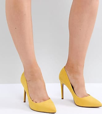 69bb9a65a8e Asos Paris Wide Fit pointed high heeled pumps in yellow - Yellow