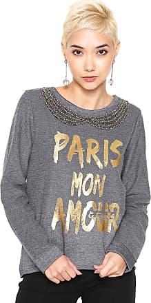 Queens Paris Moletom Fechado Queens Paris Bordado Cinza