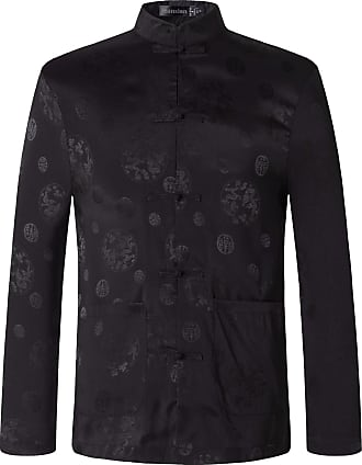 Jeansian Mens Chinese Traditional Tang Kung Fu Tai Chi Long Sleeve Shirt Tops L860 Black XXL