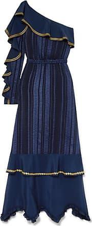 Zeus + Dione Artemis Ruffled Embroidered Satin-trimmed Silk-blend Voile Maxi Dress - Navy