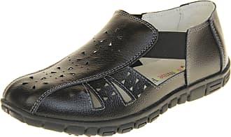 Footwear Studio Coolers Womens Leather Wide Fit Eee Sandals Shoes Black UK 7