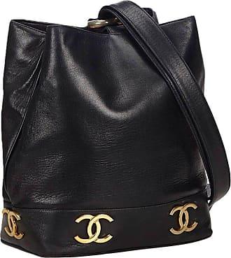 9d6b136d5fbd Chanel Black Lambskin Leather Gold Toned cc Bucket Bag