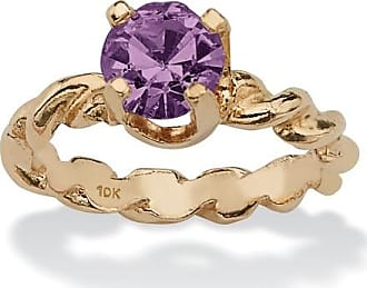 PalmBeach Jewelry Round Birthstone 10k Gold Baby Ring Charm - February- Simulated Amethyst
