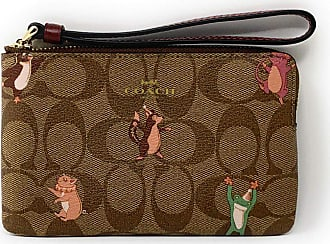 Coach WOMENS CORNER ZIP WRISTLET IN SIGNATURE CANVAS WITH PARTY ANIMALS PRINT F87877 KHAKI PINK MULTI