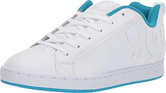 DC Womens Court Graffik Skate Shoe, White/Blue, 3.5 UK