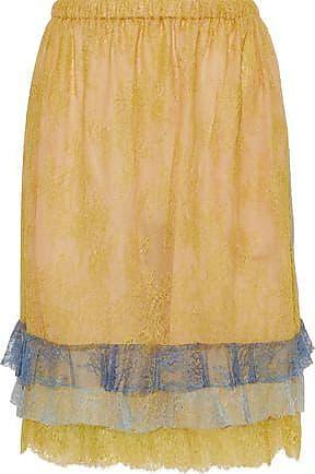 Philosophy di Lorenzo Serafini Philosophy Di Lorenzo Serafini Woman Tiered Chantilly Lace Skirt Marigold Size 44