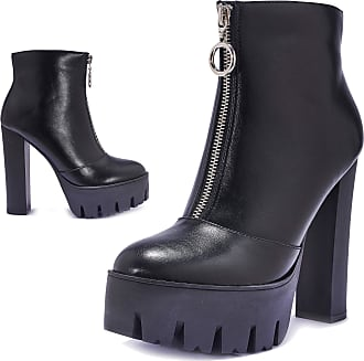 Truffle Womens Black Vegan Leather High Heel Extreme Platform Heeled Zip Up Front Fashion Ankle Boots UK Size 4 (Free UK Postage ON All Our Products!)