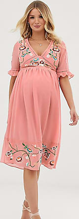 Asos Maternity ASOS DESIGN Maternity embroidered midi dress with lace trims-Pink