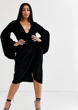 Asos Curve ASOS DESIGN Curve v- Vestito midi con maniche a kimono in velluto-Nero