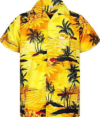 V.H.O. Funky Hawaiian Shirt, Shortsleeve, Surf, Yellow, 6XL