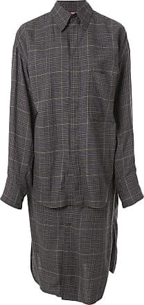 Yohji Yamamoto checked shirt dress - Grey